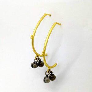 Curved J Hoop Earrings with Ghungroo Drop Side 1