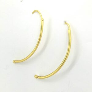 Gold Plated Curved Bar Hook Earrings Side 1