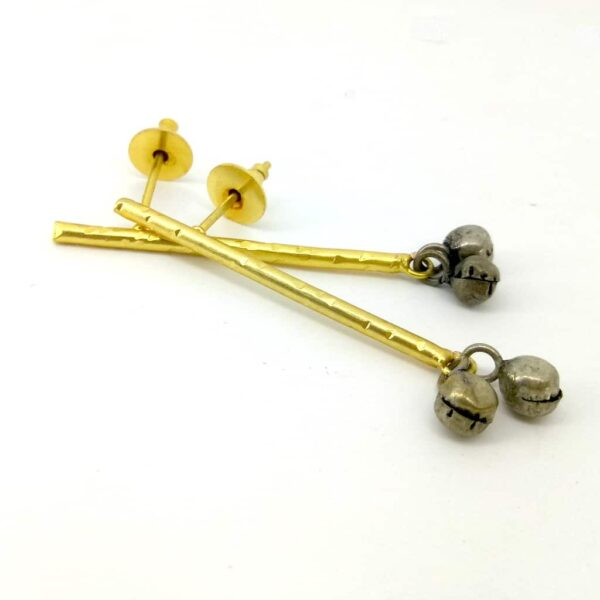 Blackened Ghungroo Earrings with a GoldPlated Straight Bar