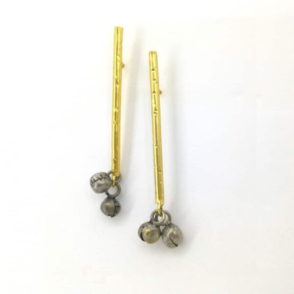 Blackened Ghungroo Earrings with a GoldPlated Straight Bar Side