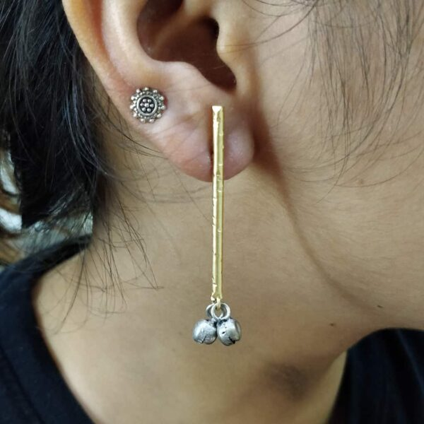 Blackened Ghungroo Earrings with a GoldPlated Straight Bar Body 1