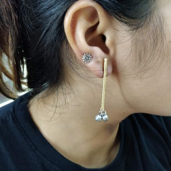 Blackened Ghungroo Earrings with a GoldPlated Straight Bar Body