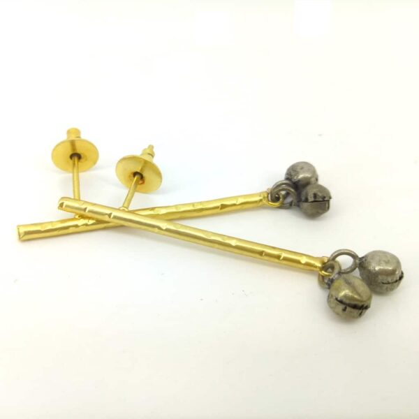 Blackened Ghungroo Earrings with a GoldPlated Straight Bar Side 1