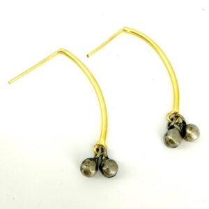 Ghungroo Drop Earrings with Goldplated Curved Shaft Side
