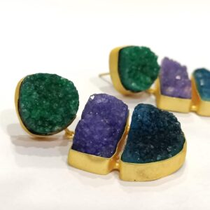 Spring Season Multi-color Druzy Earrings