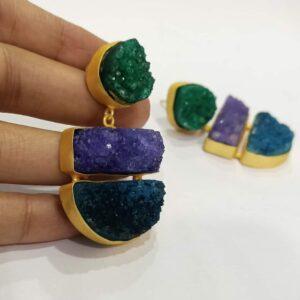 Spring Season Multi-color Druzy Earrings Hand