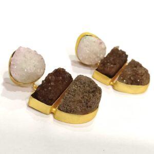 Chocolate Fudge Brown Multi-color Druzy Earrings Side 1
