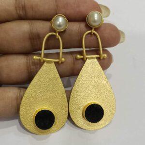Golden Swing Dangler Black and White Earrings Hand
