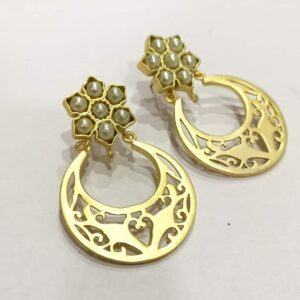 Golden Chand Bali with Pearl Floral Top Earrings Hand Side 2