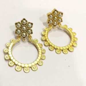 Golden Circular Bali with Pearl Floral Top Earrings