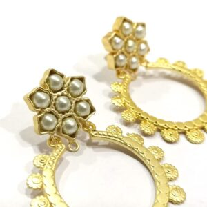 Golden Circular Bali with Pearl Floral Top Earrings Close 1