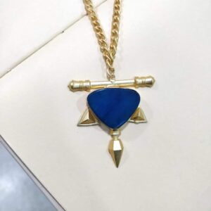 Warrier Spirit Necklace in Blue Agate Closeup