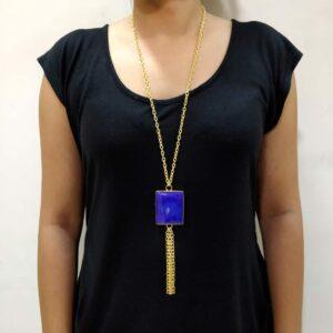Blue Agate Long Chain Tassel Necklace