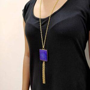 Blue Agate Long Chain Tassel Necklace Body Side