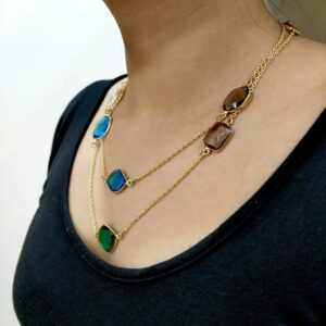 Multi-Color Candy Long Chain Necklace Body Side