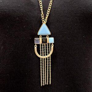Art Deco Chain Tassel Long Necklace Side Closeup
