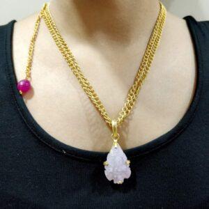 Desert Rose Adjustable Pink Druzy Pendant Necklace