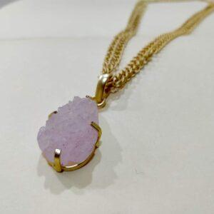 Desert Rose Adjustable Pink Druzy Pendant Necklace Side