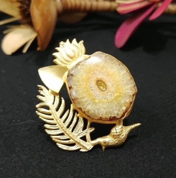 Yellow Quartz Artistic Bird Feather Adjustable Fashion Ring Main