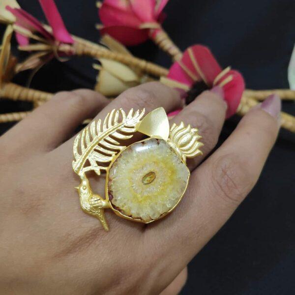 Yellow Quartz Artistic Bird Feather Adjustable Fashion Ring Body Image