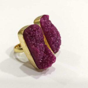 Grape Purple-Pink Druzy Bi-Finger Ring Hand Body