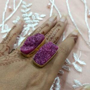 Grape Purple-Pink Druzy Bi-Finger Ring Hand 1