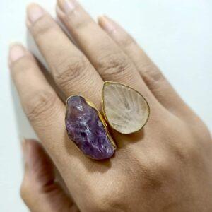 Amethyst & Quartz Angel Wings Bi-Finger Ring