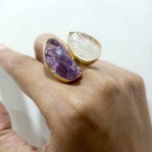 Amethyst & Quartz Angel Wings Bi-Finger Ring Hand