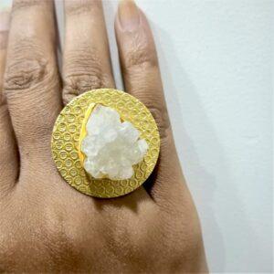 Angel White Druzy Quartz Round Textured Finger Ring