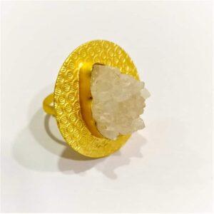 Angel White Druzy Quartz Round Textured Finger Ring Side