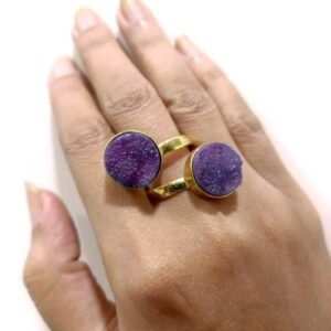 Purple Rough Drusy Bypass Golden Ring on Hand