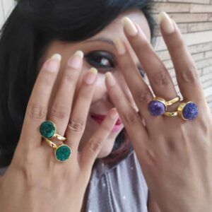 Blue Rough Drusy Bypass Golden Ring on Hands