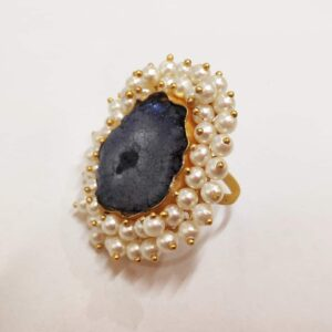 Ink Blue Gray Agate Rings with Layered Pearl Fringe Closeup