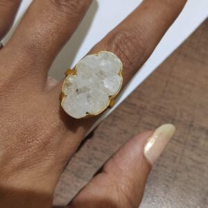 Angel White Oval Druzy Adjustable Ring with Gold Plating Main