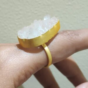 Angel White Pear Shaped Druzy Adjustable Gold Plated Ring Side