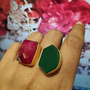 Red and Green Gold Plate Crystal Adjustable Fashion Ring Hand