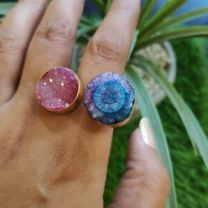 Pink Blue Purple Drusy Agate Bi-finger Gold Plated Ring Main