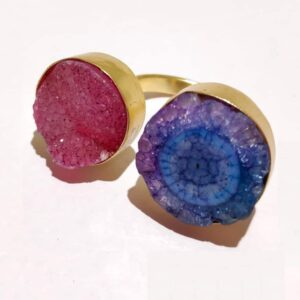 Pink Blue Purple Drusy Agate Bi-finger Gold Plated Ring Side