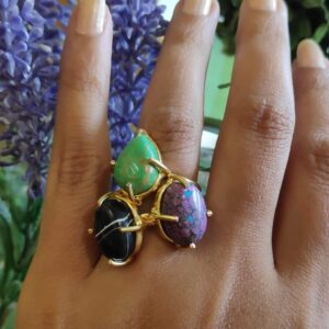 Set of 3 Semi-precious Multicolored Stones Stackable Rings Main