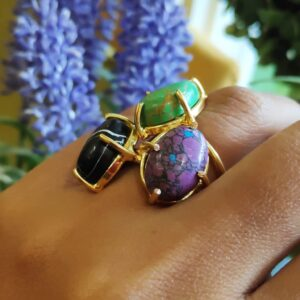 Set of 3 Semi-precious Multicolored Stones Stackable Rings Hand