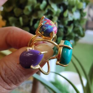 Semi Precious Purple, Blue and Multi Stone Stackable Rings Side1