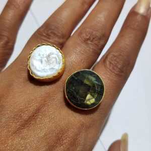 Labradorite and Mother of Pearl Bi-finger Gold Plating Ring Hand