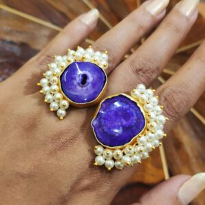 Purple Fantasy Bi-finger Pearl Fringe Fashion Statement Ring Closeup