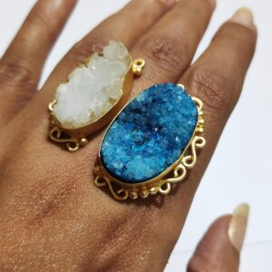 Ocean Blue & Angel White Drusy Adjustable Bi-finger Ring Hand