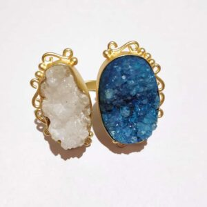 Ocean Blue & Angel White Drusy Adjustable Bi-finger Rings Top