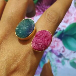 Gold Plated Sugar Crush Blue & Pink Fashion Drusy Ring Main