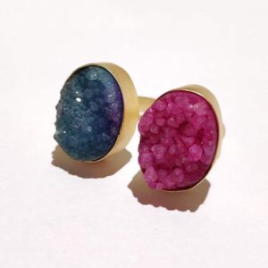 Gold Plated Sugar Crush Blue & Pink Fashion Drusy Ring Front
