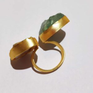 Ocean Green Rock & Baroque Pearl Bi-finger Gold Plated Ring Side
