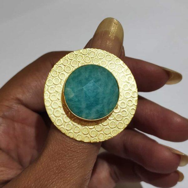Circular Textured Ocean Amazonite Blue Ring Gold Plated Main
