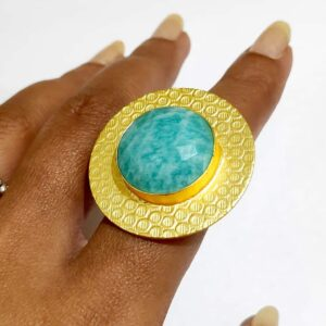 Circular Textured Ocean Amazonite Blue Ring Gold Plated Hand